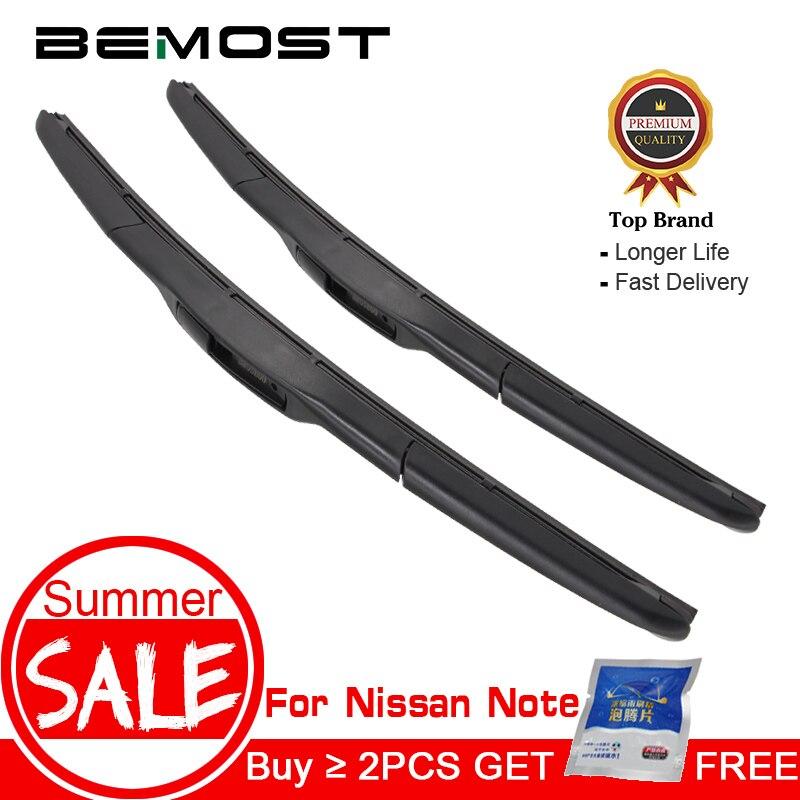 BEMOST Car Natural Rubber Wiper Blades For Nissan Note 2006 2007 2008 2009 2010 2011 2012 2013 2014 2015 2016 2017 Fit Hook Arm