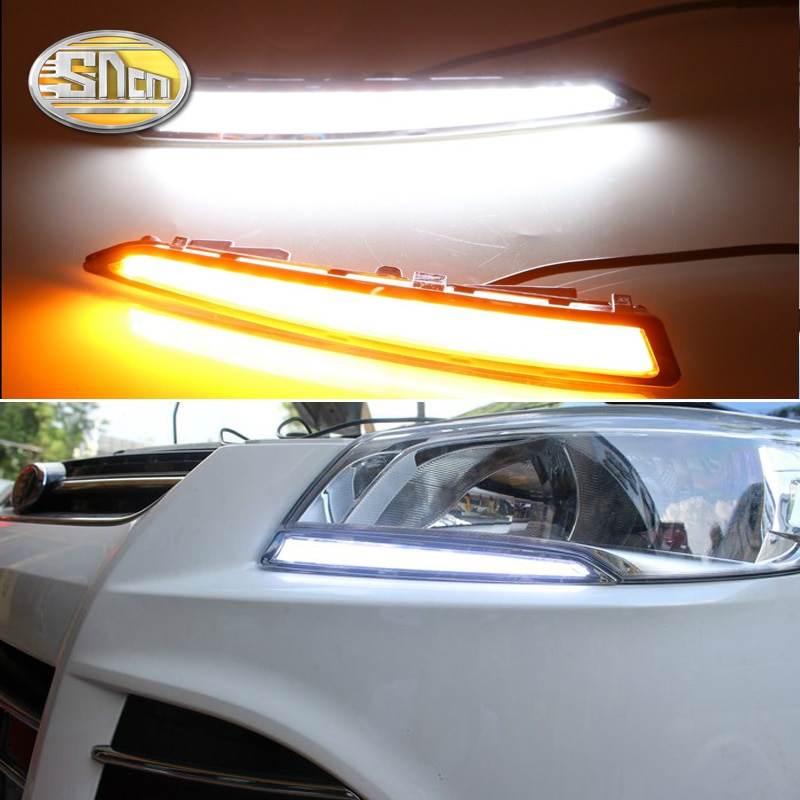 SNCN 2 uds luz LED de conducción diurna para Ford Escape Kuga 2013 2014 2015, relé de señal amarilla de giro impermeable coche 12V LED DRL