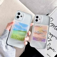 retro oil painting pearl transparent phone case for iphone 12 11 pro max xr xs max 7 8 plus soft silicone camera protect cover