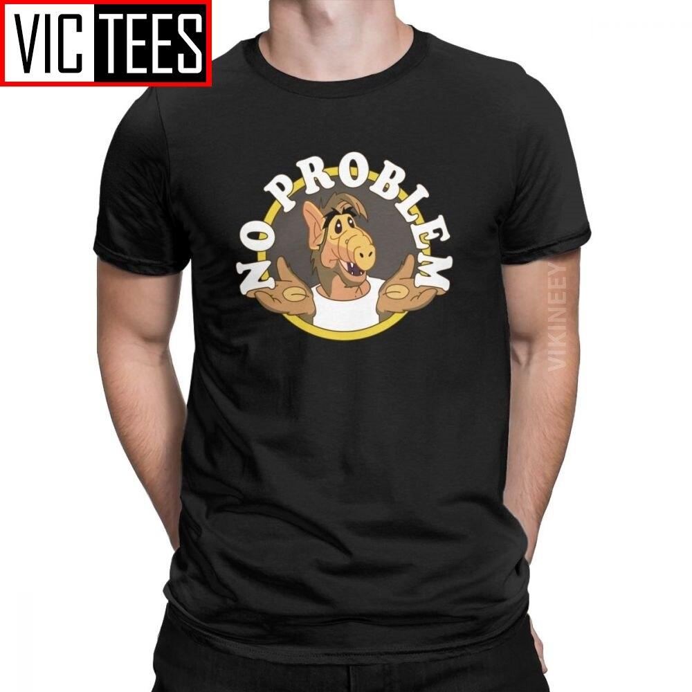 Não há problema alf tshirt para homem 100 por cento de algodão tshirt tv gordon shumway sitcom gato série estrangeiro inverno