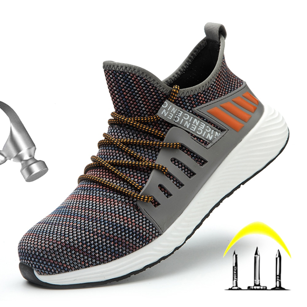 New fashion flying woven steel toe shoes, anti-smashing and anti-puncture safety shoes, work safety shoes