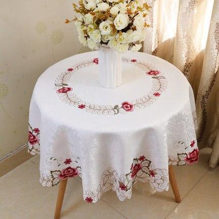 Mantel pequeño con bordado europeo, mantel cuadrado redondo de encaje, mantel pastoral con flores, mesa de comedor moderna simple