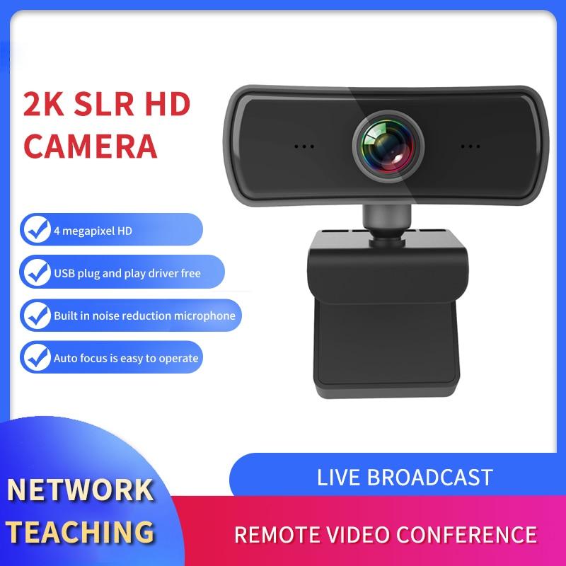 2K كاميرا HD الكمبيوتر PC المكتبية WebCamera مع ميكروفون للتدوير كاميرات ل لايف فيديو مؤتمر العمل مدون يوتيوب
