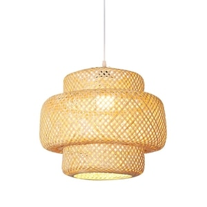 Handmade Bamboo Lampshade Pendant Ceiling DIY Restaurant Aisle Lamp Shades Weave Hanging Light (Without Light Source)