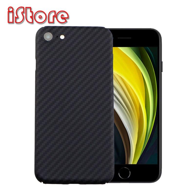 Funda de piel de fibra de carbono CF para Apple iPhone se 2020 4,7 iPhone7 iPhone8 material de fibra de aramida con atributos delgados y ligeros