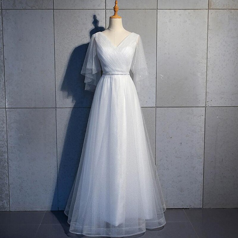 Vestidos de Dama de Honra Vestidos de Noiva Baratos com Decote em v Festa de Casamento Simples Muçulmano Longos Tule Quente Convidado Vestido Formal Mangas Curtas 2022