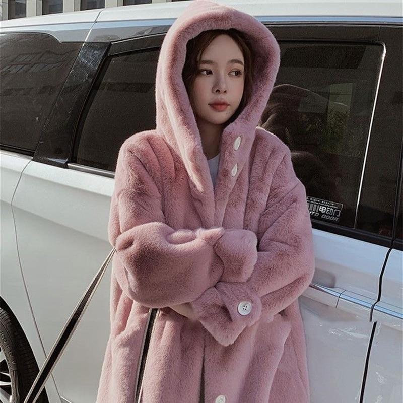Winter Frauen Plüsch lange Mäntel warme starke Faux Kaninchen Fell kapuze Mäntel Hohe Qualität Lange Pelzmantel Koreanische big size lose Mantel