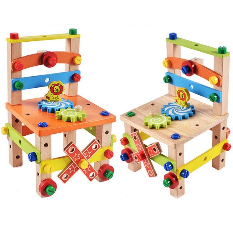 Silla de madera para niños, juguete educativo, colorida silla multifuncional para montar, juguete infantil para aprender, juguetes Montessori inteligentes