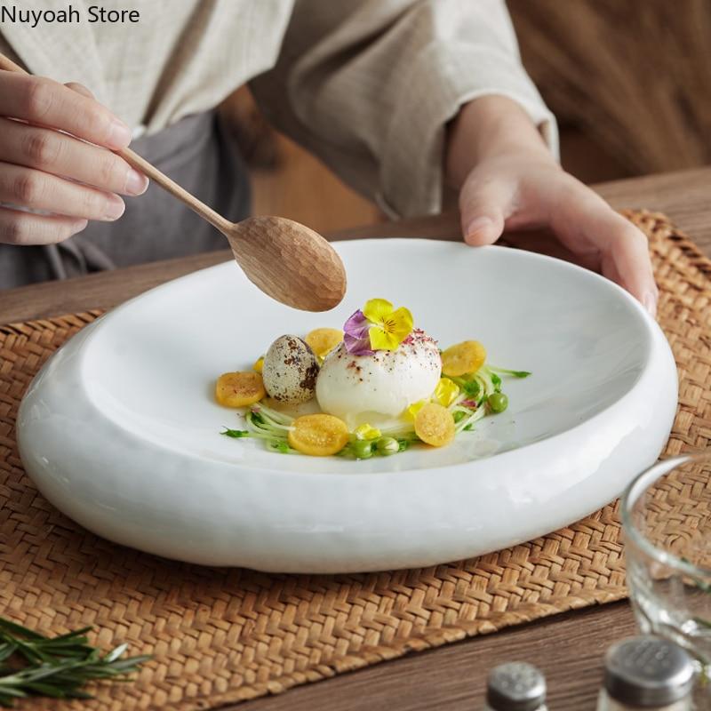 10 بوصة الأبيض السيراميك طبق عشاء المنزلية الخاصة على شكل طبق عشاء الغربية البيضاوي صينية تخزين أدوات المائدة لوازم المطبخ