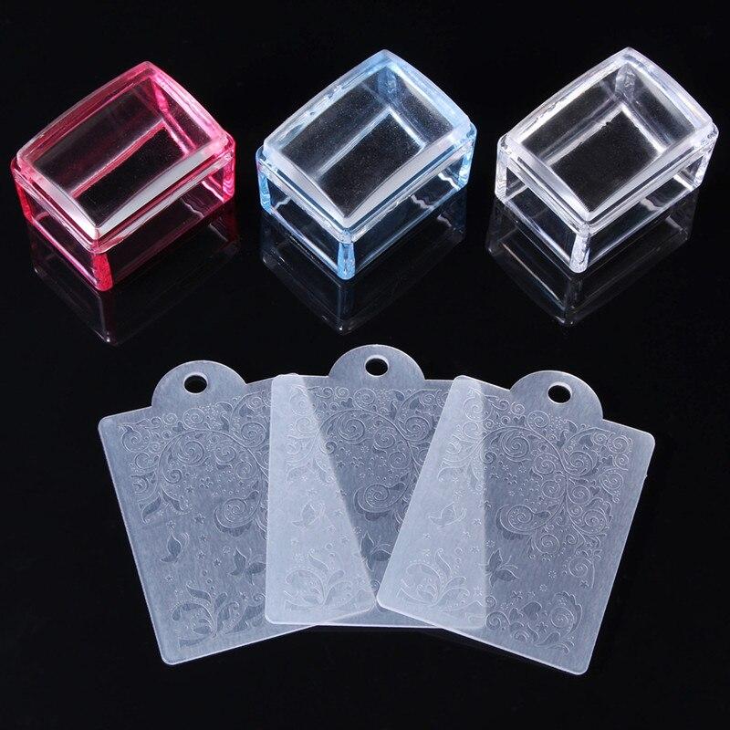 Estampador de uñas ASA transparente de silicona, 1 Juego, nuevo, rectangular, gel, plantilla de estampado de manicura, herramientas de estampación