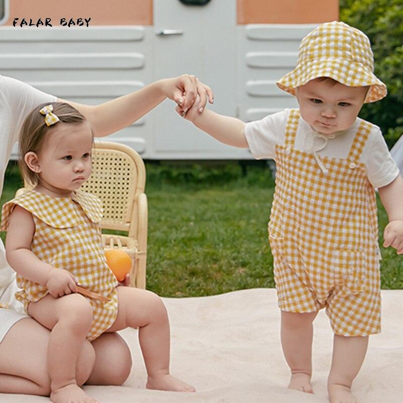 ملابس صيف 2021 للأطفال الرضع مطابقة للعائلة ملابس أطفال أولادي بناتي قطن أصفر منقوشة رومبير بذلة ملابس شقيق