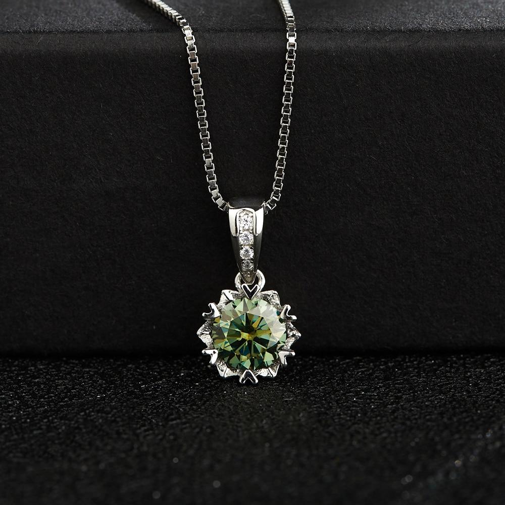 BOEYCJR ندفة الثلج 925 الفضة 1ct/2ct الأخضر مويسانيتي VVS1 المشاركة أنيقة الزفاف قلادة قلادة للنساء هدية