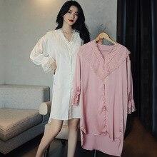 2021 New Lace Patchwork Nightshirt Women Sleep Dress Satin Nightgown Loose Sleepwear Home Dressing G