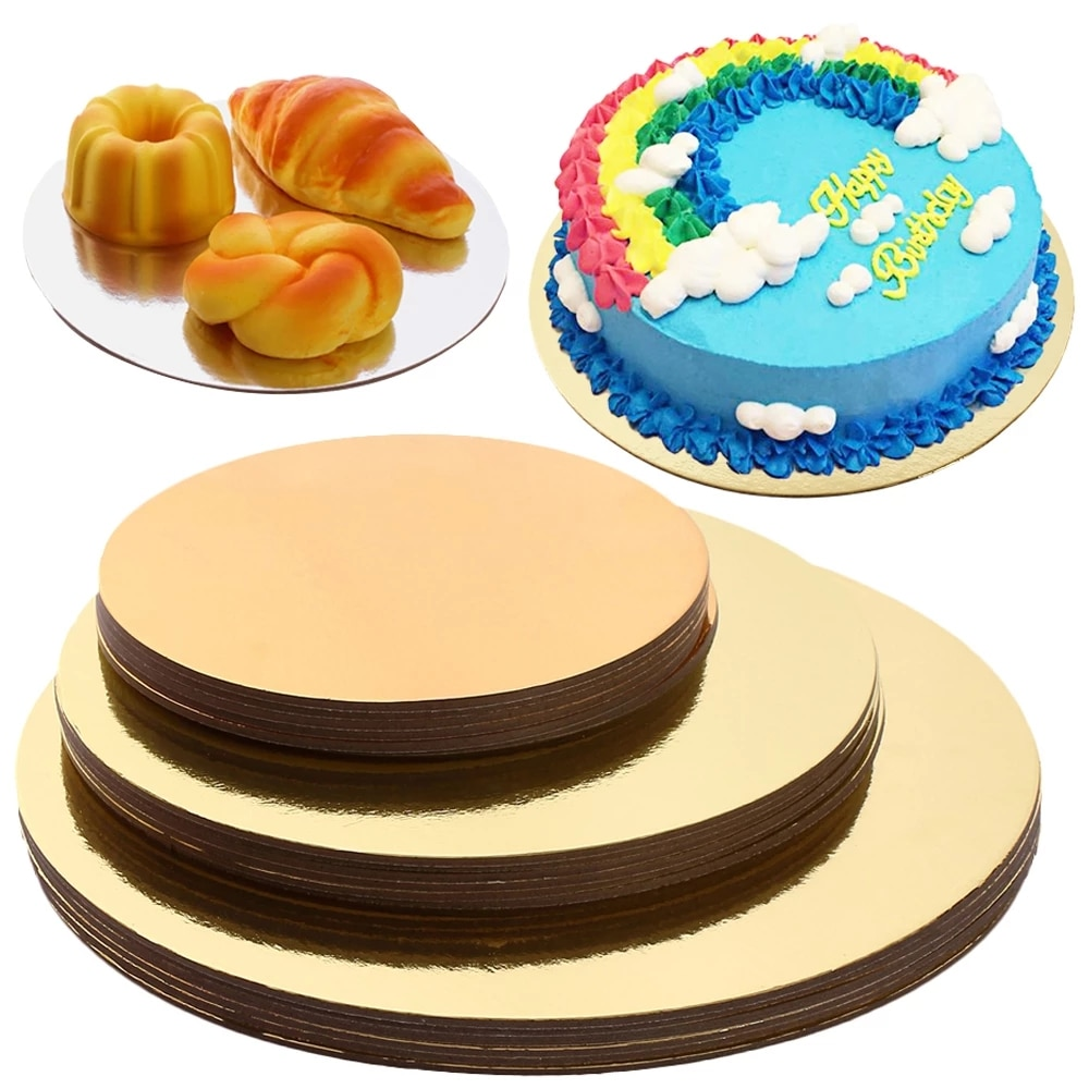 18/3pcs Round Cake Boards Set Cakeboard Base Disposable Paper Cupcake Dessert Tray 6 inches, 8 and 10 inches of Each