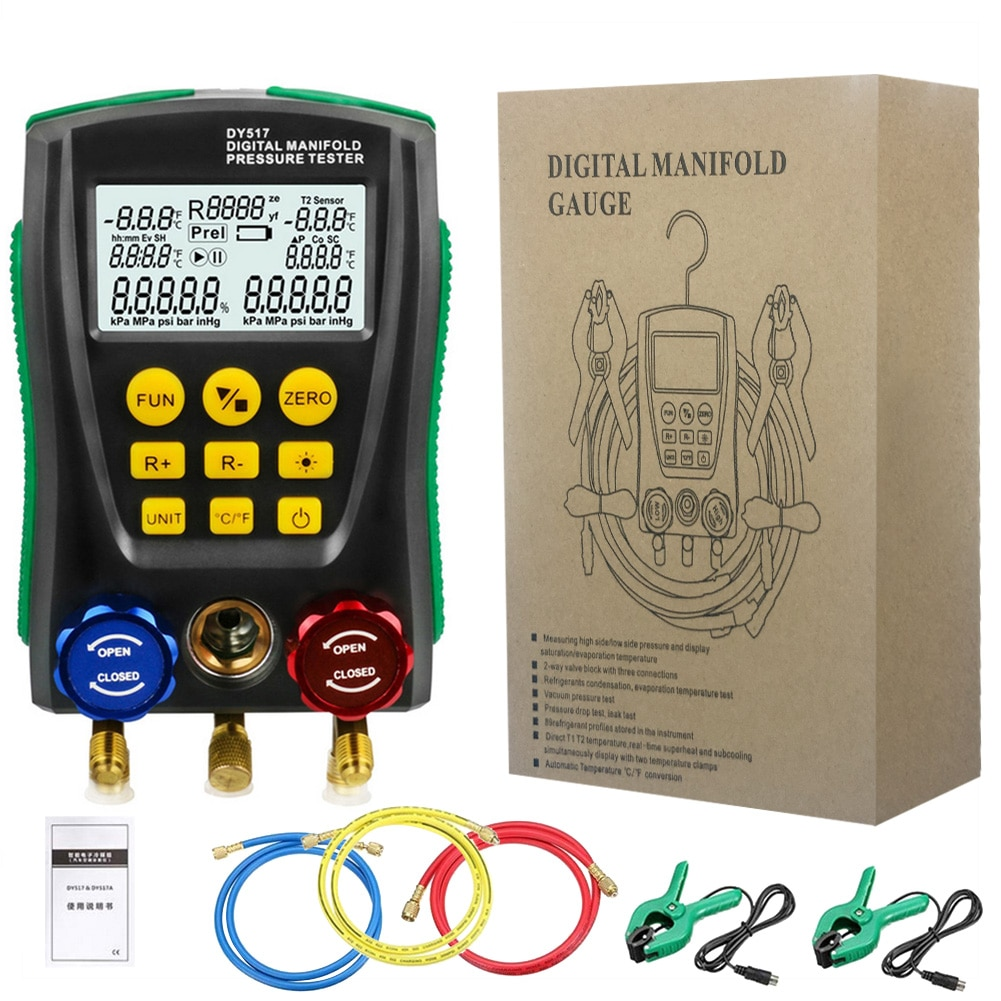 الرقمية مقياس متعدد المنوع تستر DY517/549 قياس ضغط الهواء ل المبردات مجموعة قياس متعددة 2 قطعة المشبك مجسات أداة