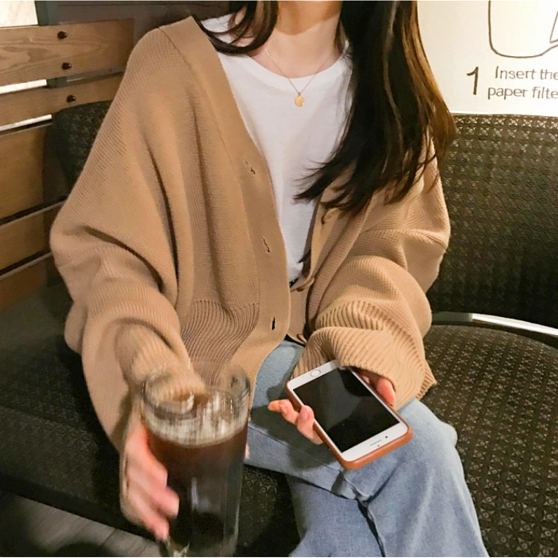 Mulheres Outono Casaco Camisola Único Breasted Cardigan De Malha Plus Size V Pescoço Puxar Femme Camisa de Manga Longa Casual Sueter Mujer