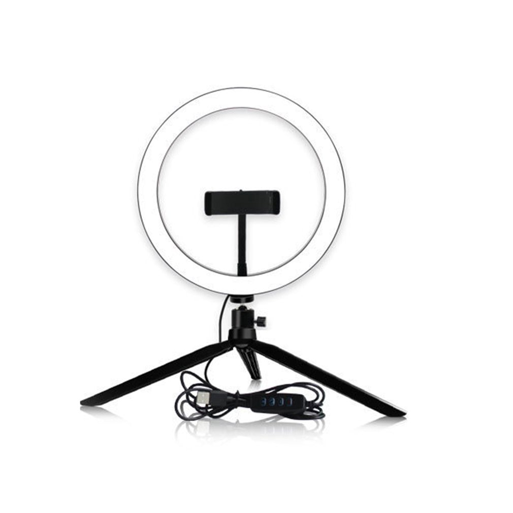 14,5 cm novedad regulable LED Selfie anillo luz Cámara teléfono fotografía vídeo maquillaje lámpara con trípode teléfono Clip