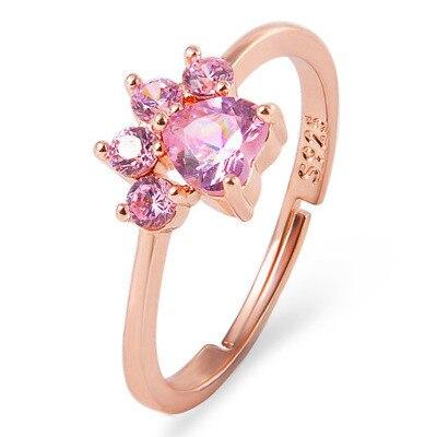 Bonito anillo de caricaturas con apertura ajustable, anillo de mujer de circón con huellas de gato y pata de gato, anillo de cobre Animal para chica, joyería de moda al por mayor