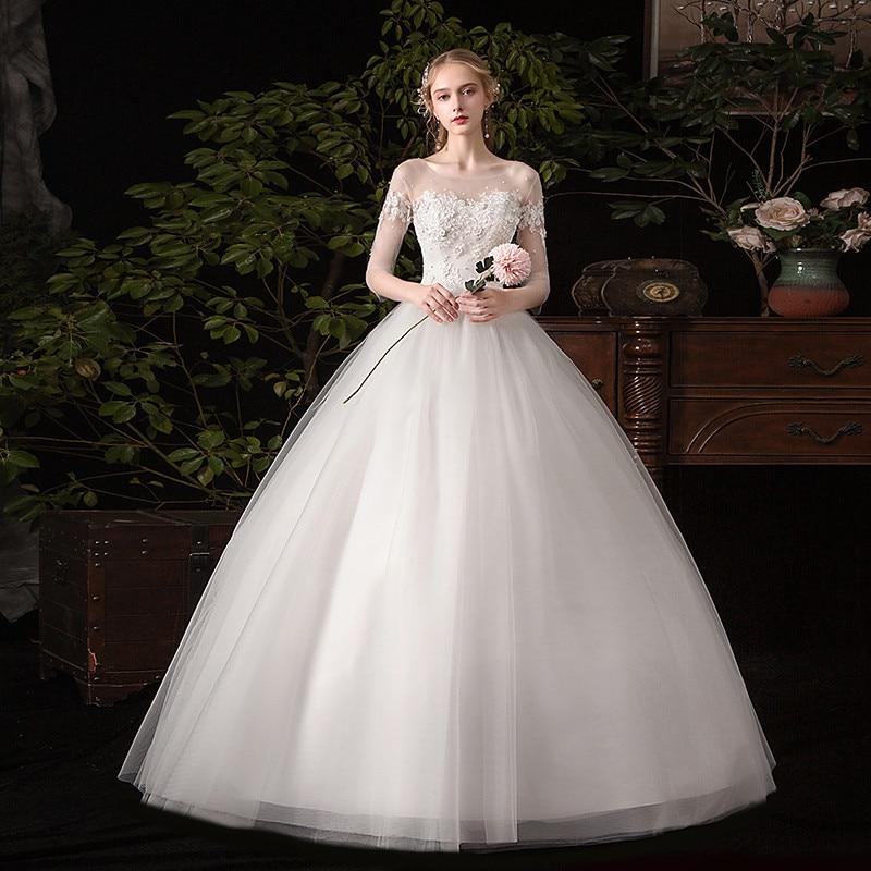 Vestido de novia 2020 nuevo la media manga de encaje vestido de bola romántico vestidos de novia tipo princesa clásico apliques vestidos de novia C30