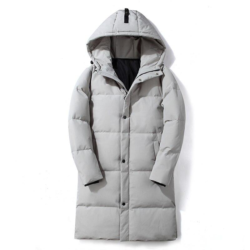 Мужская модная утепленная длинная куртка с капюшоном, мужская теплая куртка на белом утином пуху, Повседневная однотонная парка на молнии, ...