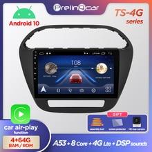 Prelingcar 안드로이드 10.0 아니오 DVD 2 딘 자동차 라디오 멀티미디어 비디오 플레이어 네비게이션 GPS Tata Tiago Tiagr Zica 2016 18 2020 DSP