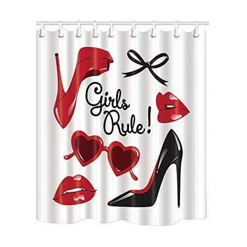 Moda mujer maquillaje decoración Vector de tacón alto con labios rojos cortinas de ducha baño respetuoso con el medio ambiente tela de poliéster con ganchos