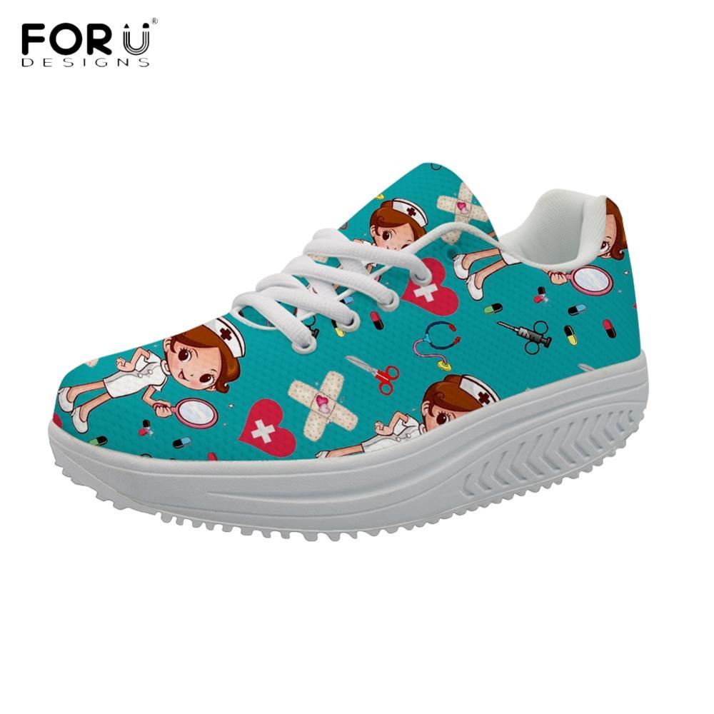 FORUDESIGNS 2021 Brand Designer Women Nursing Shoes Casual Slimming Swing Shoes Cute Nurse Print Wom