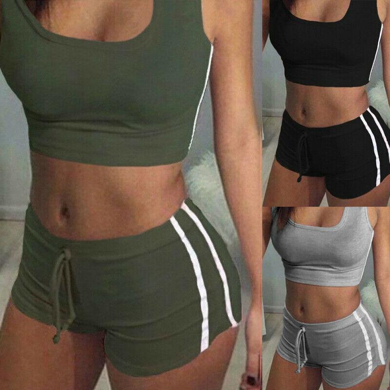 2PCS Women Sleeveless Yoga Set Sports Bra Top Shorts Fitness Running Yoga Gym Sports Clothes Suit