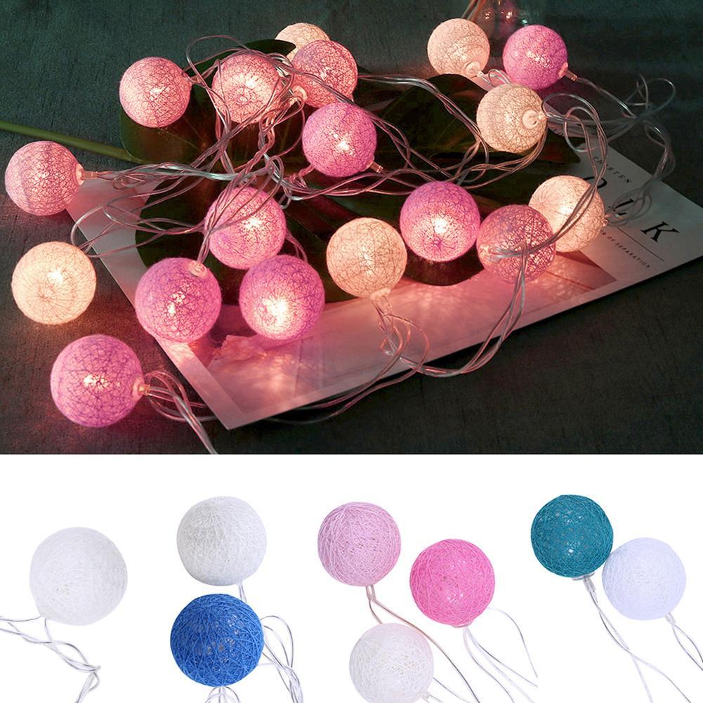 20 ledes bolas de algodón luces de Hada para exteriores luces de San Valentín globo iluminación para la decoración de la boda vacaciones guirnalda de Navidad