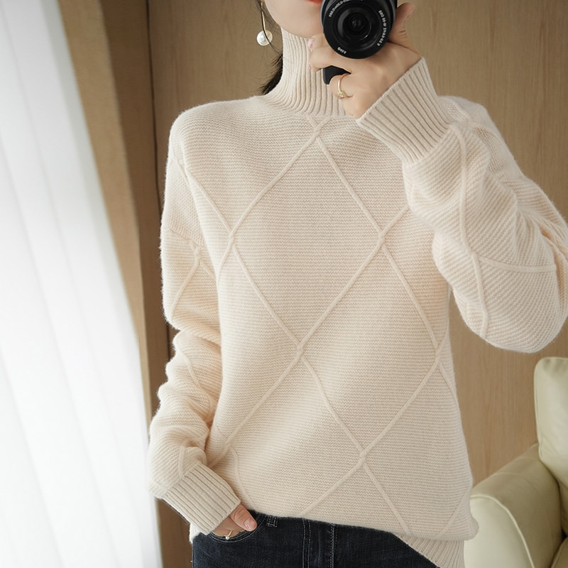 BARESKIY   Cashmere sweater women's turtleneck sweater 100% wool knit pullover pure color thick warm basic sweater base sweater enlarge