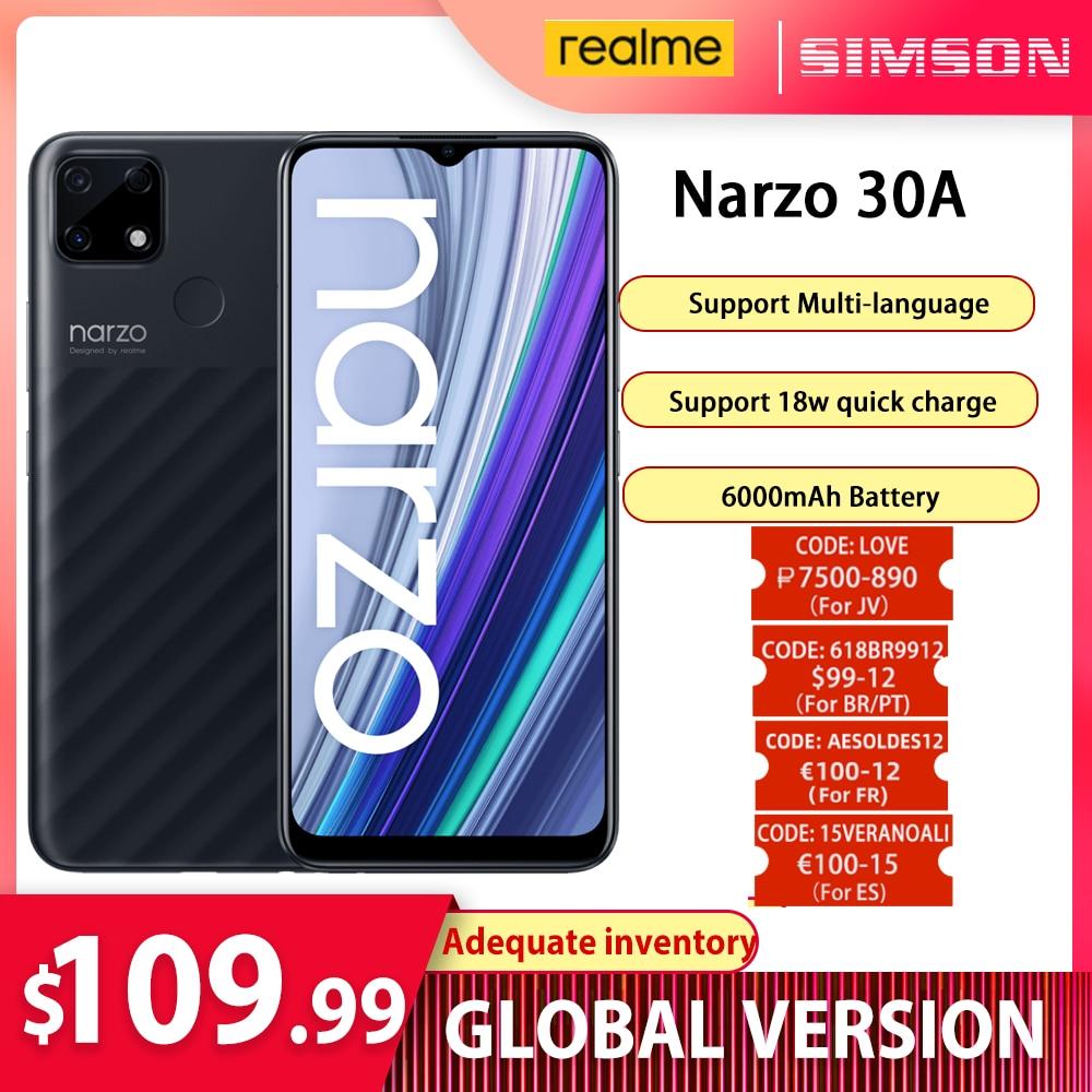 Перейти на Алиэкспресс и купить Смартфон глобальная версия realme Narzo 30A, 3/4 Гб + 32/64 ГБ, Helio G85, 6,5 дюйма, 13 МП, двойная камера с искусственным интеллектом, 6000 мАч, 18 Вт, быстрая заряд...