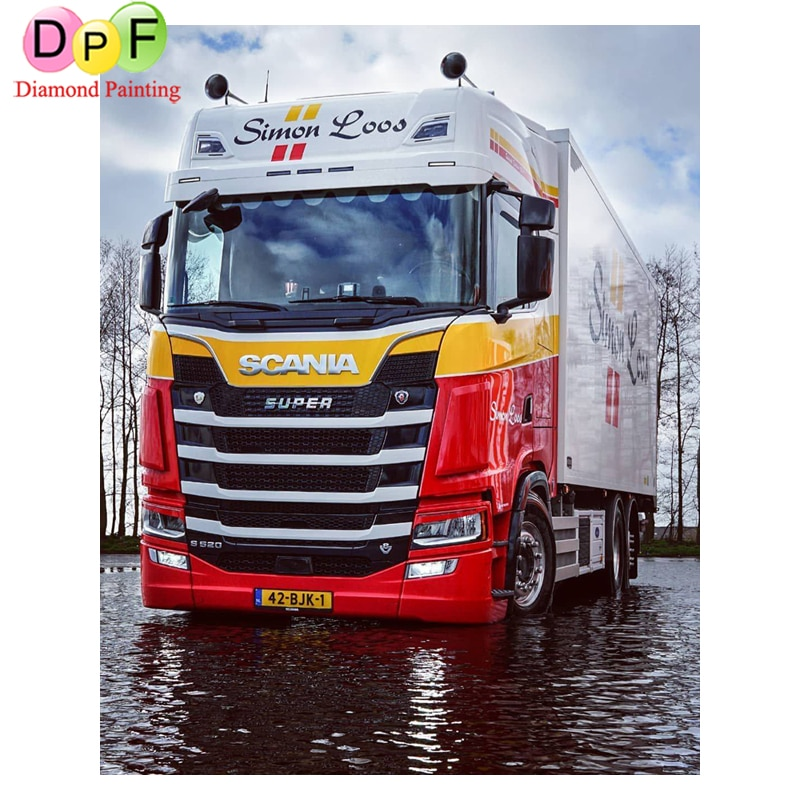 DPF 5D Diamond Painting big truck DIY square Full Cross-stitch Diamond Painting with Rhinestones Embroidery decor painting