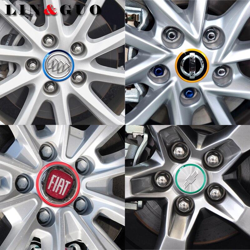 Anillo de aluminio decorativo Universal para tapacubos de coche, pegatinas circulares coloridas de aleación para Ford focus, Fiesta, EcoSport, decoración de coche 4 Uds.