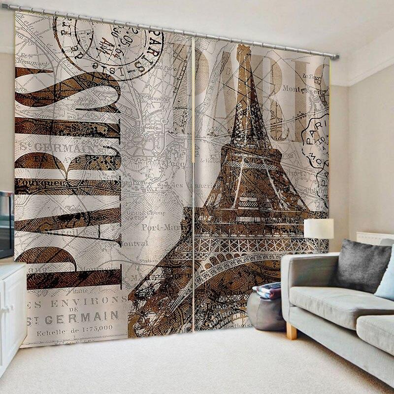 Europeu estilo britânico cortinas blackout chuva guarda-chuva rua cortina moderna torre de paris para o quarto sala estar em casa