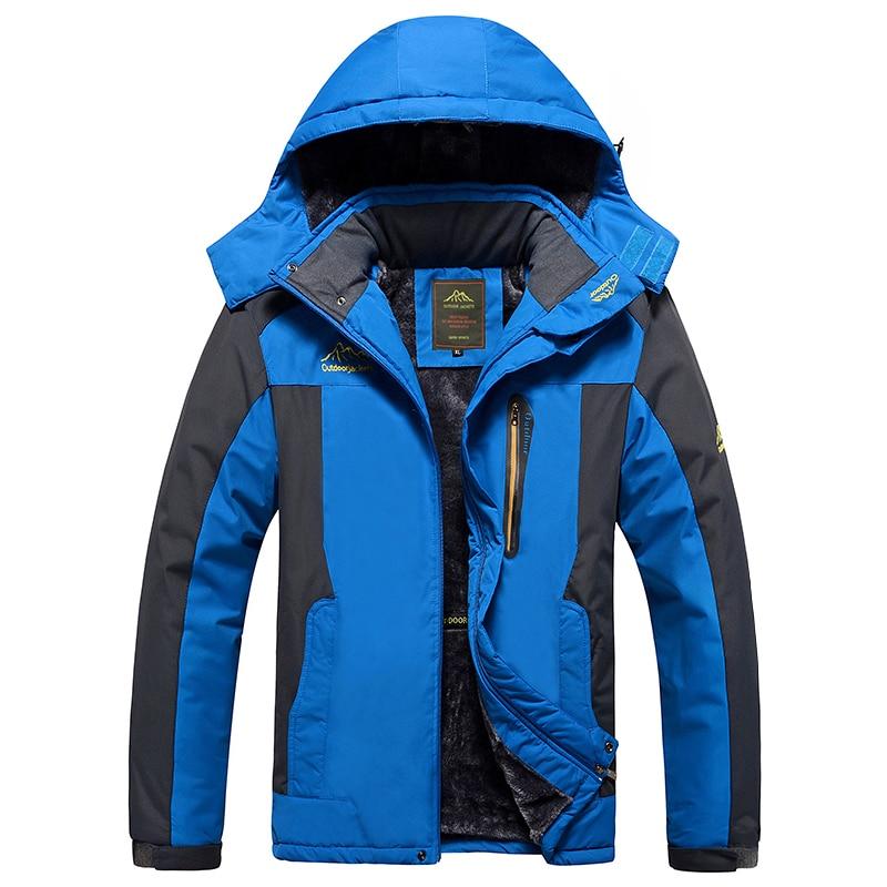 Зимняя Лыжная куртка для мужчин Водонепроницаемый флисовая куртка для снежной погоды Термальность пальто для отдыха на открытом воздухе г...
