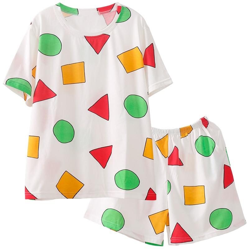 Pijama Sin Chan Pajama Man Summer Woman Pajamas for Couples Short Sleeve Sets Sleepwear Women Cotton Pyjamas XXXXL