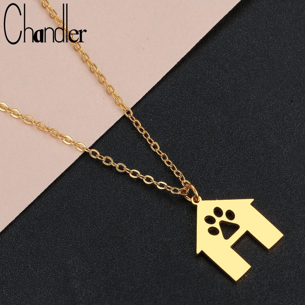 Chandler Edelstahl Mode Nette Haustiere Hunde Fußabdrücke Pfote Haus Halskette Pet Home Schmuck für Frauen Pet Liebhaber Geschenke Kette Halsband