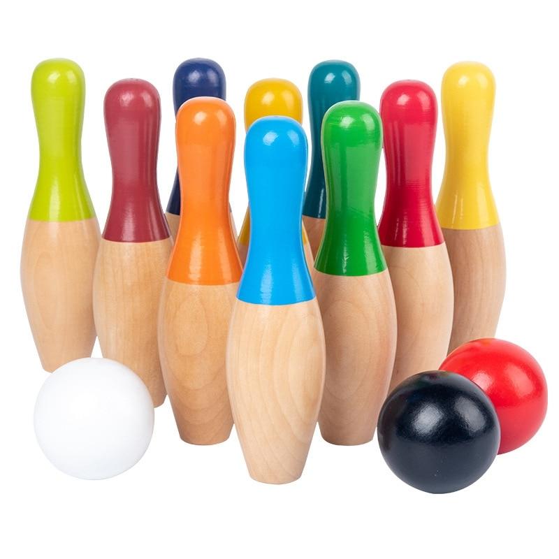 13 قطعة لون خشبي البولينج مجموعة 10 دبابيس 3 الكرة لعبة البولينج للأطفال داخلي الأسرة الرياضة لعبة تعليمية