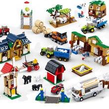friends farm sets Roll-off truck bus house villa blocks horse Model building kits Educational child kids toys