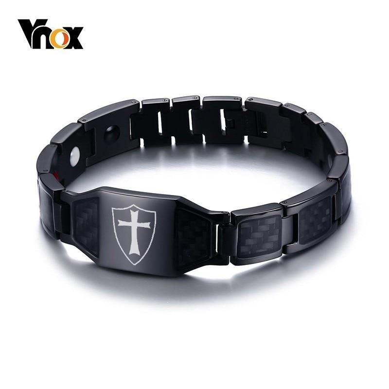 Vnox стильные браслеты из углеродного волокна Knights Templar Shield магнитные био энергетические браслеты для мужчин крест вера терапия мужской Pulseira 8...