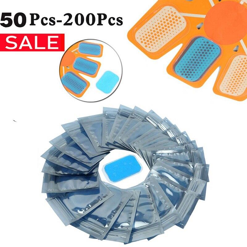 50/100/200 Uds reemplazo ABS Gel Pads EMS estimulador muscular abdominal Hydrogel Gel Fitness para máquina de masaje abdominal pegatinas