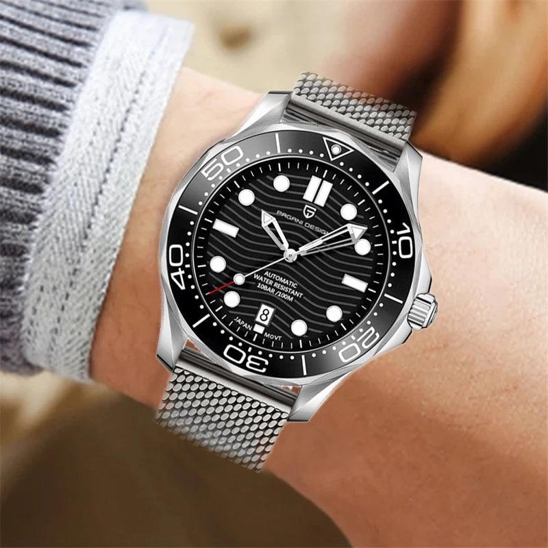 PAGANI DESIGN original brand Men automatic watch Fashion 007 men mechanical watches Curved sapphire mirror Waterproof clock 1685