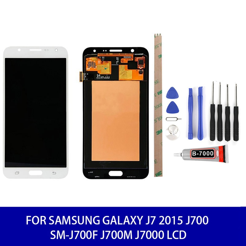Brillo ajustable para Samsung Galaxy J7 2015 J700 SM-J700F J700M Lcd pantalla táctil digitalizador + herramientas pantalla móvil