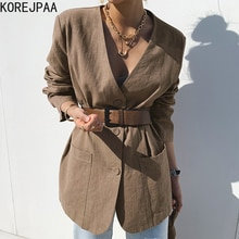 Korejpaa Women Jacket 2021 Summer Korean Chic Ladies Retro Temperament V-Neck Three-Button Loose Cas