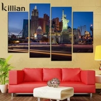 american city traffic light canvas painting night scene poster wall painting home decor poster living room home decoration wall