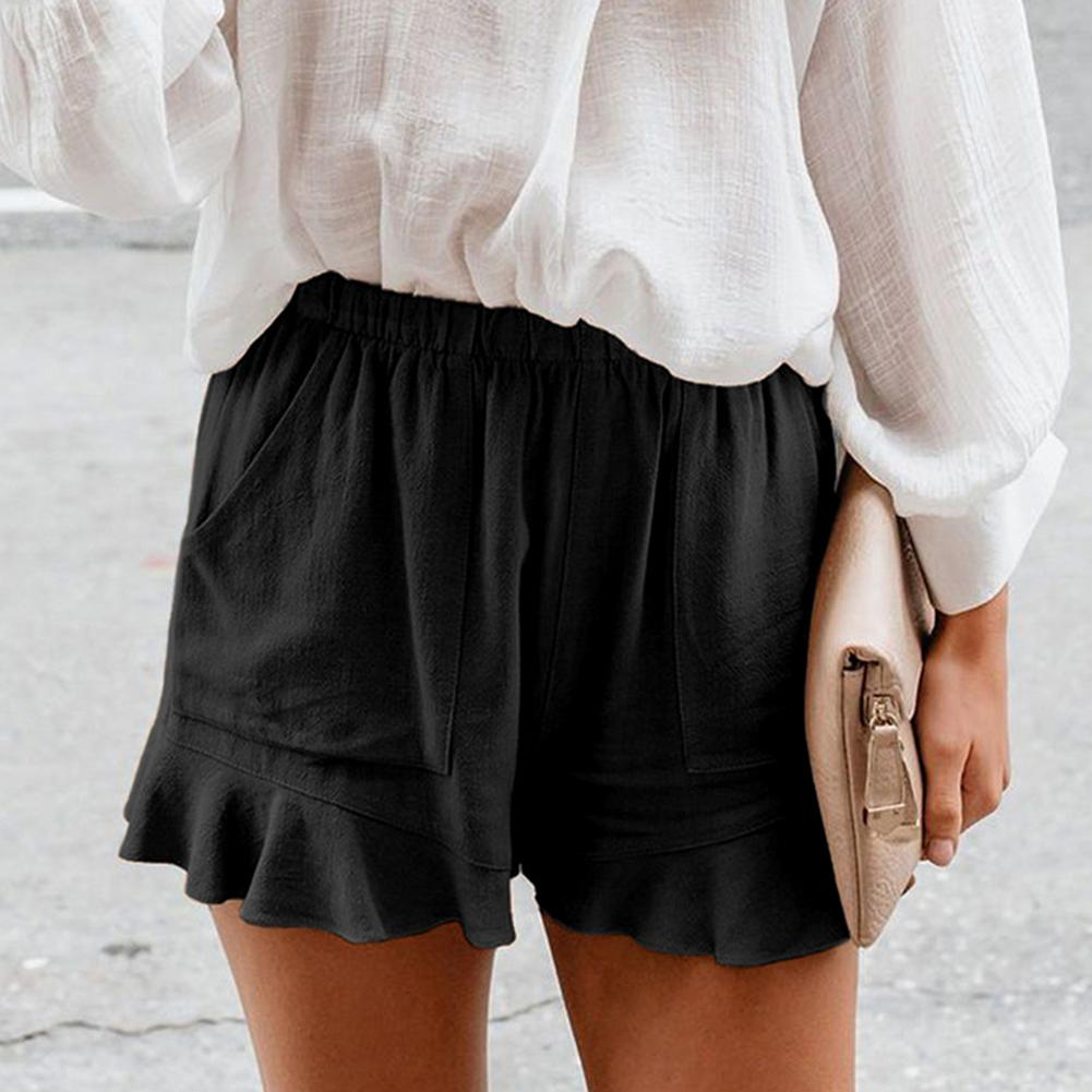 Women summer cotton Linen shorts solid color high waist Folds loose straight leg pants shorts Breathable lady casual shorts summer men s casual cotton and linen pants loose cotton shorts breathable harem solid calf cropped pants