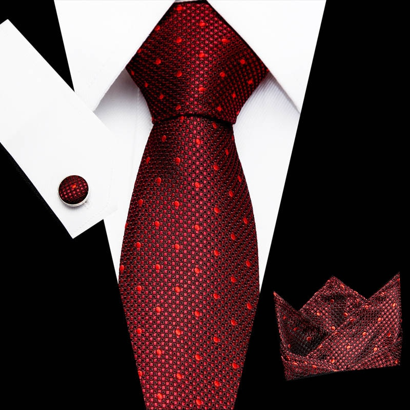 New Design Tie Set Jacquard Woven 100% Silk 8 cm Tie Hanky Cufflinks Necktie Sets For Wedding Party Men недорого