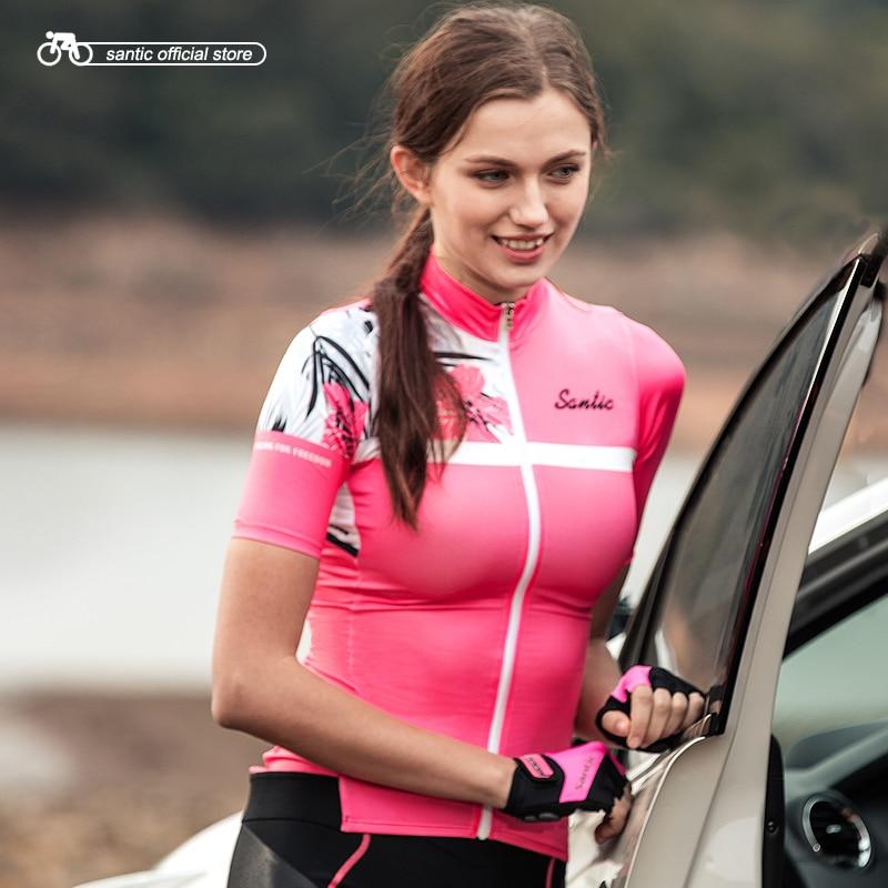 Santic mujeres ciclismo Camiseta corta Pro Fit señoras carretera MTB bicicleta Jersey manga corta verano asiático tamaño S-XXL L8C02130