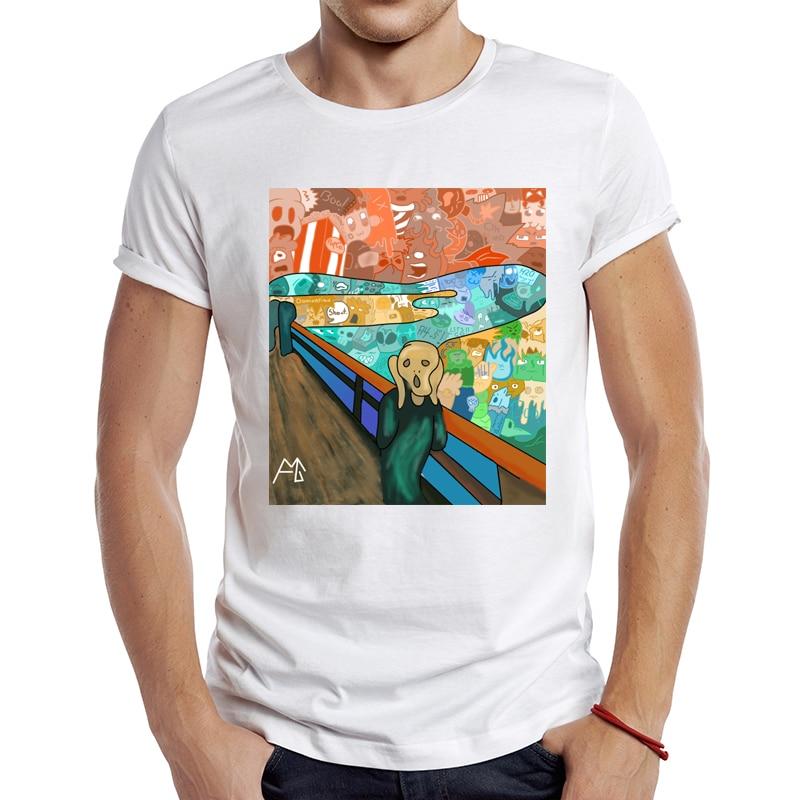 2021 męska nowa moda streszczenie krzyk doodle Design koszulka z krótkim rękawem fajnie nadruki topy Hipster koszulki