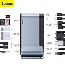 Baseus 16 Ports USB C HUB vers USB 3.0 4K HDMI RJ45 VGA cc Audio multifonctionnel Type C HUB adaptateur Station de travail pour ordinateur portable